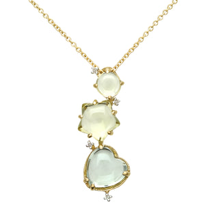18ct Yellow Gold 10ct Green Amethyst, Smokey and Lemon Quartz Gem Pendant with 40cm Chain