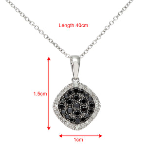 18ct White Gold 0.40ct Black and White Diamond Filled Square Pendant with 40cm Chain