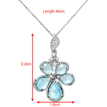 Load image into Gallery viewer, 9ct White Gold 4.00ct Shades of Blue Topaz and Diamond Flower Pendant with 40cm Chain