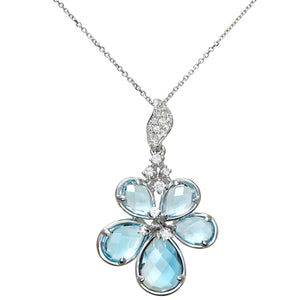 9ct White Gold 4.00ct Shades of Blue Topaz and Diamond Flower Pendant with 40cm Chain