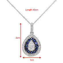 Load image into Gallery viewer, 9ct White Gold 0.25ct Blue Sapphire and Diamond Alternate Teardrop Pendant with 40cm Chain