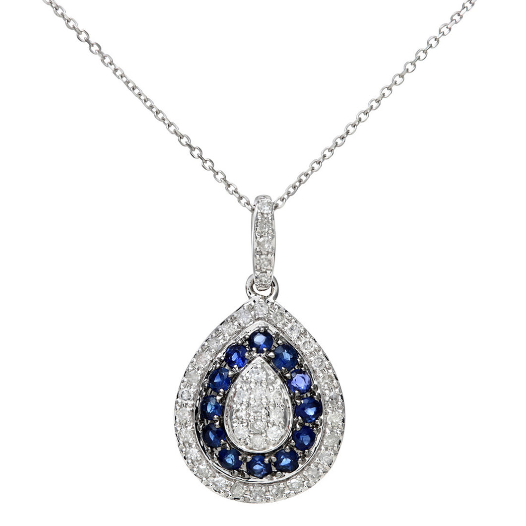 9ct White Gold 0.25ct Blue Sapphire and Diamond Alternate Teardrop Pendant with 40cm Chain