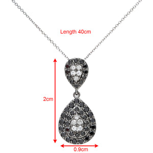 9ct White Gold 0.55ct Black and White Diamond Alternate Teardrop Pendant with 40cm Chain