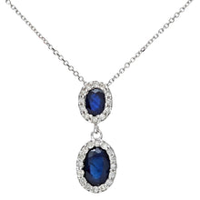 Load image into Gallery viewer, 9ct White Gold 0.85ct Sapphire and Diamonds Double Oval Drop Pendant with 40cm Chain