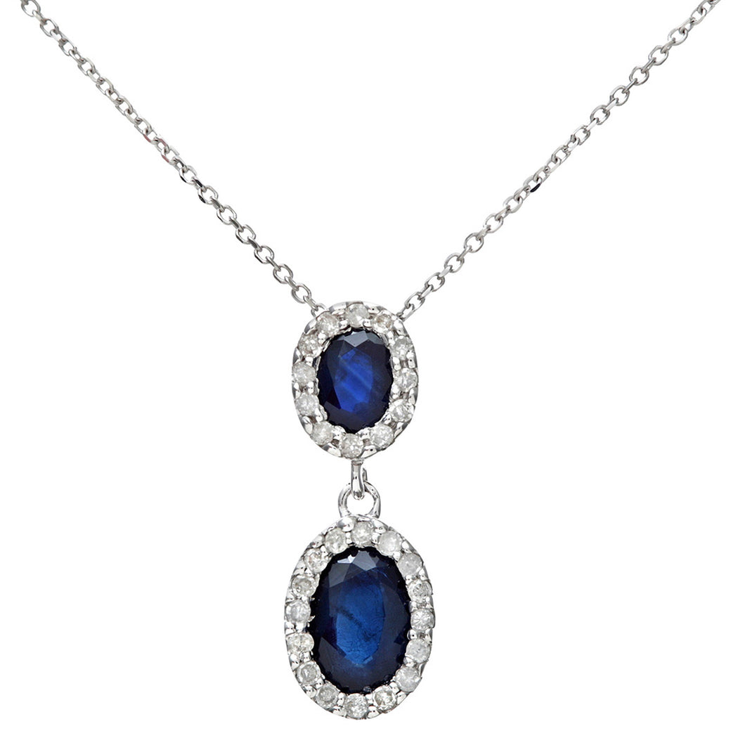 9ct White Gold 0.85ct Sapphire and Diamonds Double Oval Drop Pendant with 40cm Chain