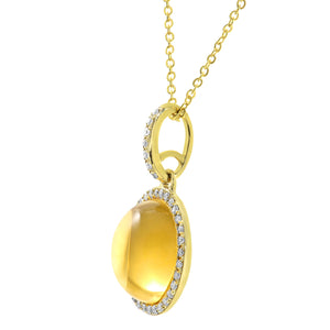 9ct Yellow Gold Diamond and 2.80ct Round Citrine Gemstone Pendant with Chain of 46cm