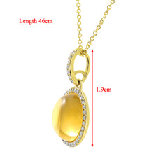 Load image into Gallery viewer, 9ct Yellow Gold Diamond and 2.80ct Round Citrine Gemstone Pendant with Chain of 46cm