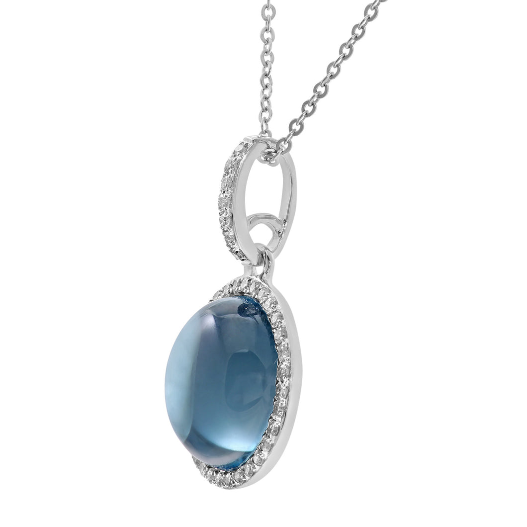 9ct White Gold Diamond and 3.75ct Round Blue Topaz Gemstone Pendant with Chain of 46cm