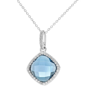 9ct White Gold Diamond and 2.65ct Cushion Cut Clue Topaz Gemstone Pendant with Chain of 46cm