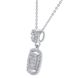 18ct White Gold 0.50ct Pave Set Diamond Square Pendant with Chain of 46cm