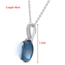 Load image into Gallery viewer, 9ct White Gold Diamond and 3.10ct Round Blue Topaz Pendant with Chain of 46cm