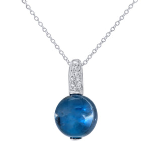 9ct White Gold Diamond and 3.10ct Round Blue Topaz Pendant with Chain of 46cm