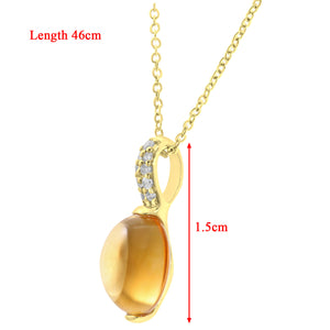 9ct Yellow Gold Diamond and 2.25ct Round Citrine Pendant with Chain of 46cm