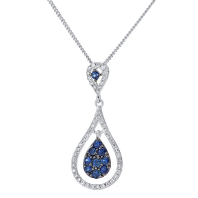18ct White Gold Teardrop 0.30ct Sapphire and Diamond Pendant with Chain of 46cm