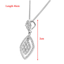 Load image into Gallery viewer, 18ct White Gold 0.40ct Diamond Square Pendant with Chain of 46 cm