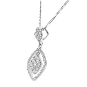 18ct White Gold 0.40ct Diamond Square Pendant with Chain of 46 cm