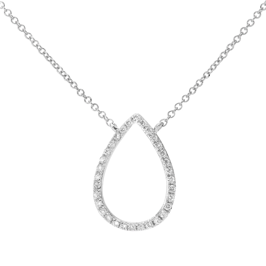 9ct White Gold 0.10ct Diamond Open Teardrop Pendant Necklace of Length 40.6cm