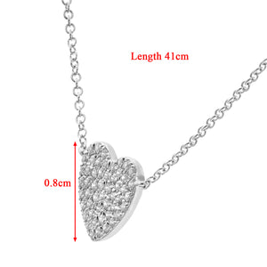 9ct White Gold 0.15ct Pave Set Diamond Heart Pendant Necklace of Length 41cm
