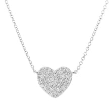 Load image into Gallery viewer, 9ct White Gold 0.15ct Pave Set Diamond Heart Pendant Necklace of Length 41cm