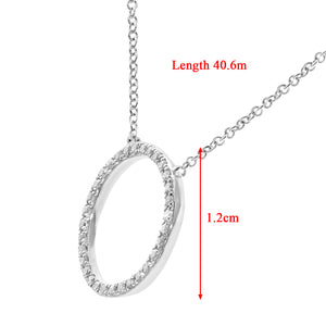 9ct White Gold 0.10ct Diamond Open Ring Pendant Necklace of Length 40.6cm