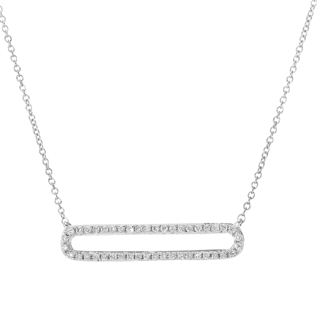 9ct White Gold0.13ct Diamond Long Rectangle Shape Pendant Necklace of Length 41cm