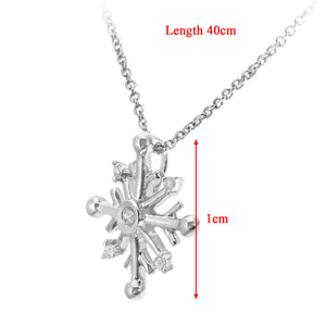 9ct White Gold Snowflake Design Pendant with Chain of 40cm