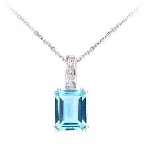 9ct White Gold Diamond and Blue Topaz Rectangle Cut Pendant Necklace