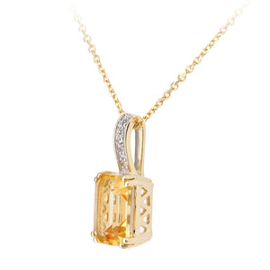 9ct Yellow Gold Diamond and Citrine Rectangle Cut Pendant Necklace