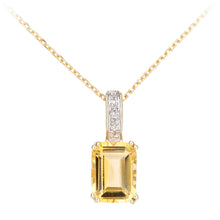 Load image into Gallery viewer, 9ct Yellow Gold Diamond and Citrine Rectangle Cut Pendant Necklace