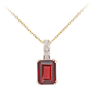 9ct Yellow Gold Diamond and Garnet Rectangle Cut Pendant Necklace