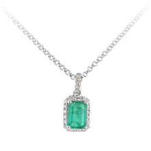 Load image into Gallery viewer, 18ct White Gold Emerald and Diamond Pendant Necklace