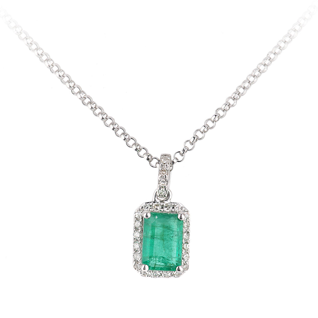 18ct White Gold Emerald and Diamond Pendant Necklace