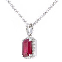 Load image into Gallery viewer, 18ct White Gold Ruby and Diamond Pendant Necklace