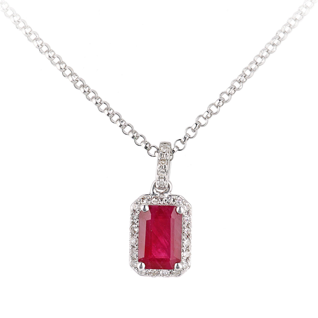 18ct White Gold Ruby and Diamond Pendant Necklace