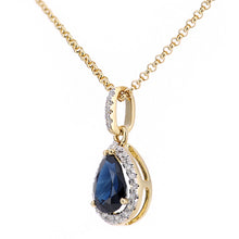 Load image into Gallery viewer, 18ct Yellow Gold Sapphire and Diamond Teardrop Pendant Necklace