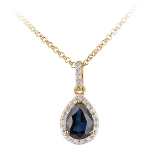 18ct Yellow Gold Sapphire and Diamond Teardrop Pendant Necklace
