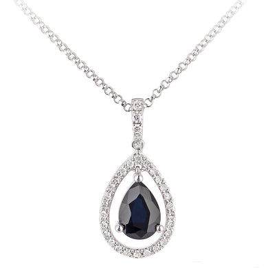 18ct White Gold Sapphire and Diamond Teardrop Pendant Necklace