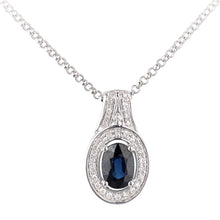 Load image into Gallery viewer, 18ct White Gold Sapphire and Diamond Oval Pendant Necklace