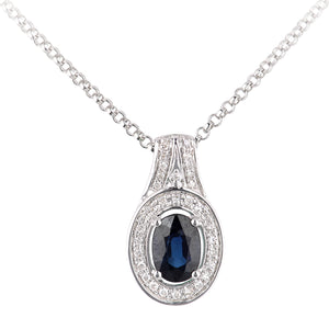 18ct White Gold Sapphire and Diamond Oval Pendant Necklace