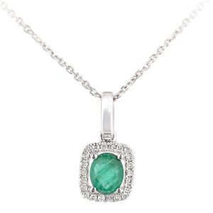 9ct White Gold Emerald and Diamond Oval Gemstone Pendant Necklace