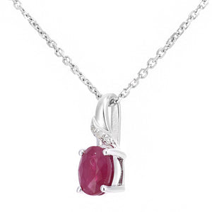 9ct White Gold Ruby and Diamond Oval Gemstone Pendant Necklace