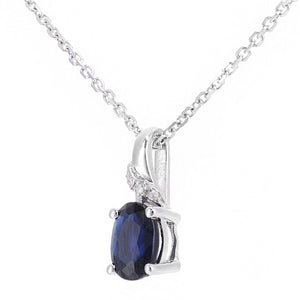 9ct White Gold Sapphire and Diamond Oval Gemstone Pendant Necklace