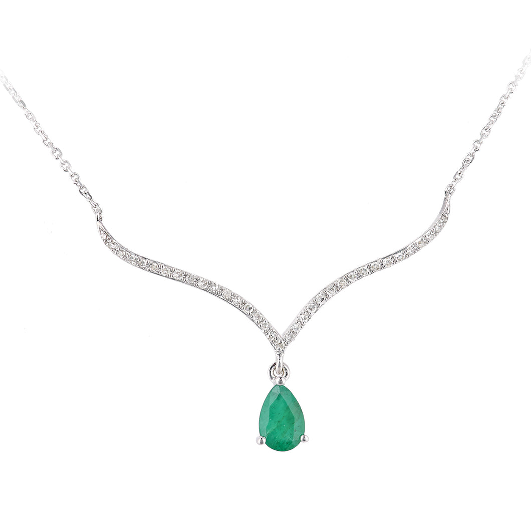 9ct White Gold Diamond and Emerald Gemstone Teardrop Necklace
