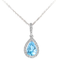 Load image into Gallery viewer, 9ct White Gold Diamond and Blue Topaz Teardrop Pendant Necklace