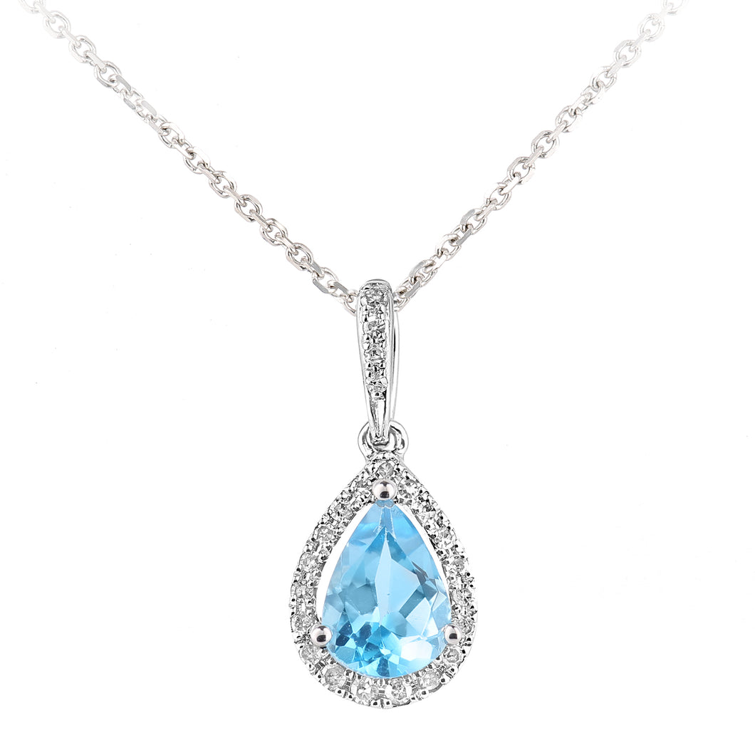 9ct White Gold Diamond and Blue Topaz Teardrop Pendant Necklace