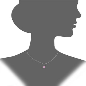 9ct White Gold Diamond and Pink Sapphire Teardrop Pendant Necklace