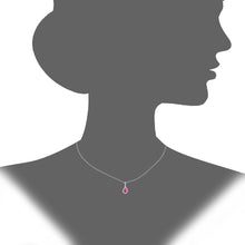 Load image into Gallery viewer, 9ct White Gold Diamond and Ruby Teardrop Pendant Necklace