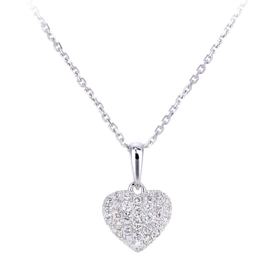 9ct White Gold Diamond Heart Cluster Pendant Necklace