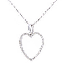 Load image into Gallery viewer, 9ct White Gold Diamond Open Heart Pendant Necklace