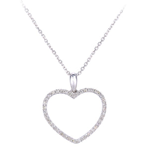 9ct White Gold Diamond Open Heart Pendant Necklace